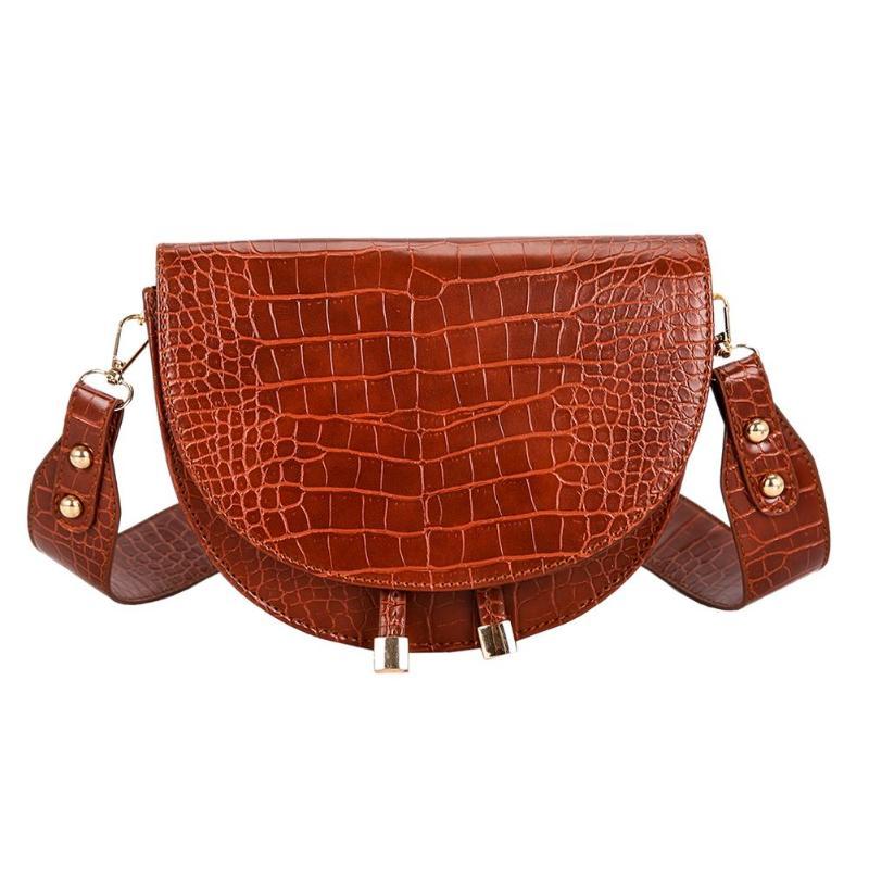 Luxe Crocodile motif sacs à bandoulière pour femmes 2020 demi-rond sac de messager en cuir PU sacs à main sac à bandoulière sac main femme