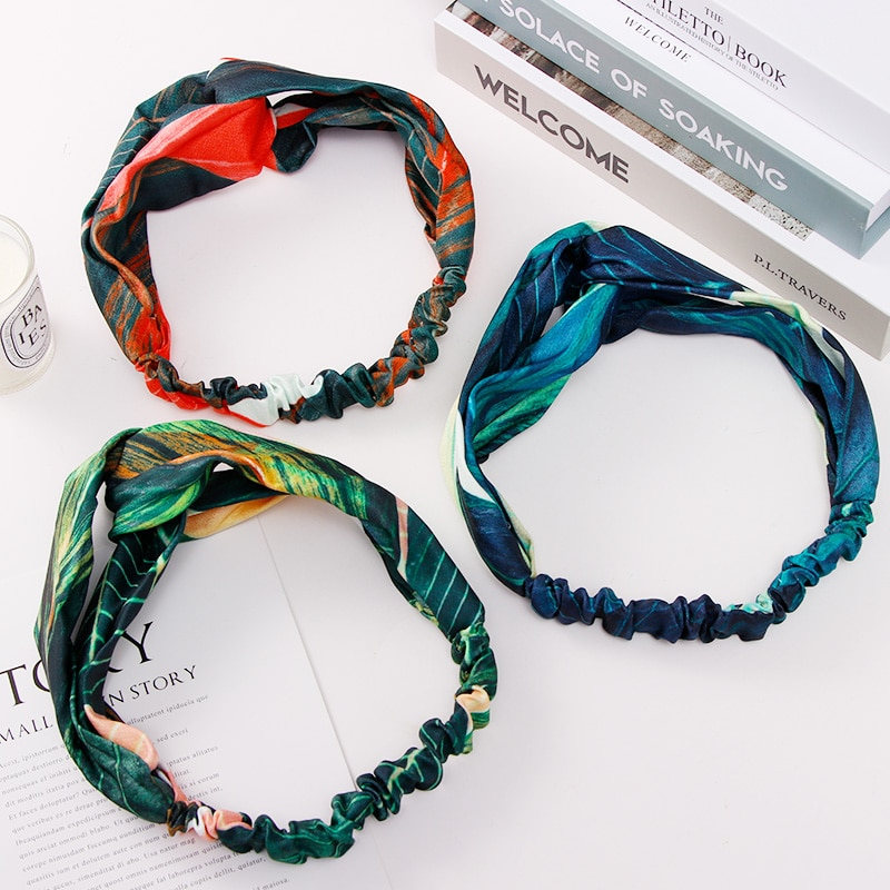 Été bohème imprimer feuilles bandeaux élastiques bandeaux pour femmes rétro croix noeud Turban Bandanas bandes de cheveux accessoires de cheveux