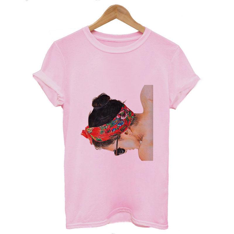Grande taille femmes été Vogue imprimer dame décontracté t-shirts hauts Harajuku Streetwear manches courtes haut col en o t-shirts Camisetas Mujer