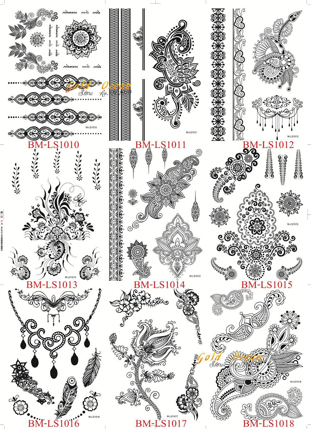 25 Styles Sexy dentelle noir henné temporaire tatouage autocollant femmes main bijoux Tatoo pâte imperméable faux corps Art tatouage autocollants