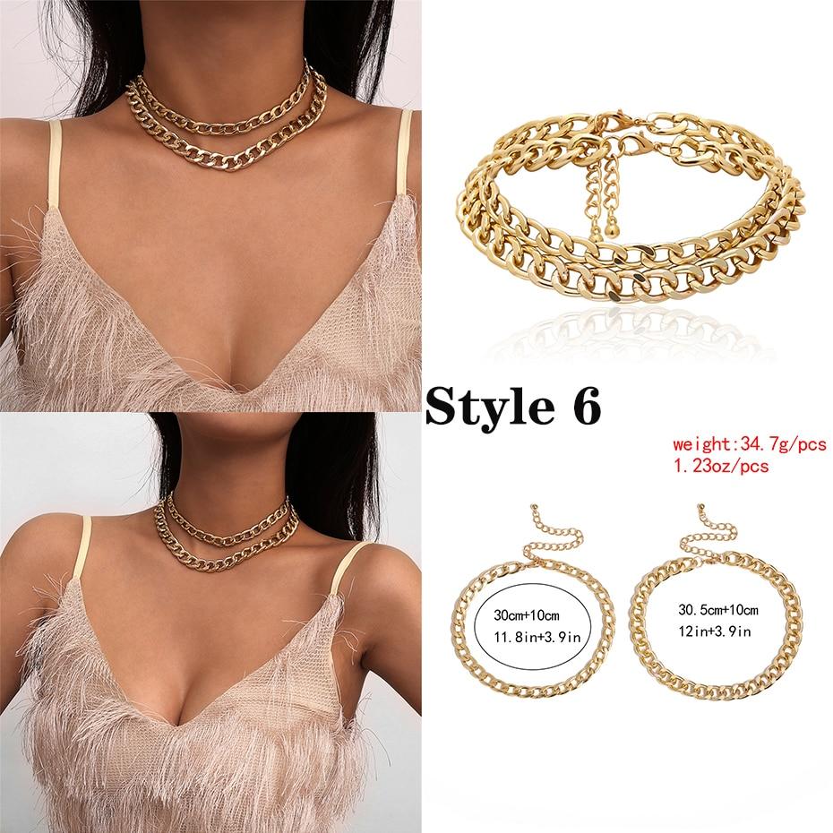 Punk Miami cubain collier ras du cou collier déclaration Hip Hop grand gros aluminium couleur or épais chaîne collier femmes bijoux