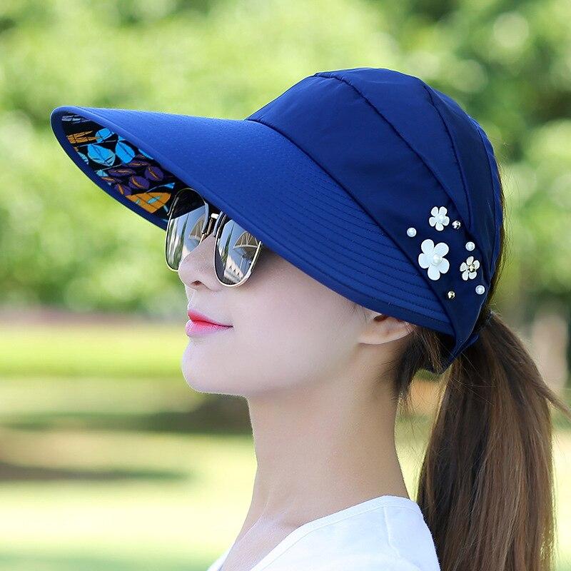 Chapeaux de soleil pour femmes   Visière, chapeau de pêche, chapeau de plage, Protection UV, casquette de plein air décontracté femmes printemps été, queue de cheval, chapeau à large bord