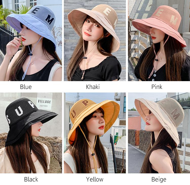 Chapeau de plage à fleurs pour femmes | Chapeau à grande bord, chapeau de plage en maille Protection contre les UV, chapeaux de soleil pliables à filet pour femmes, chapeau seau pour femmes, été 2019