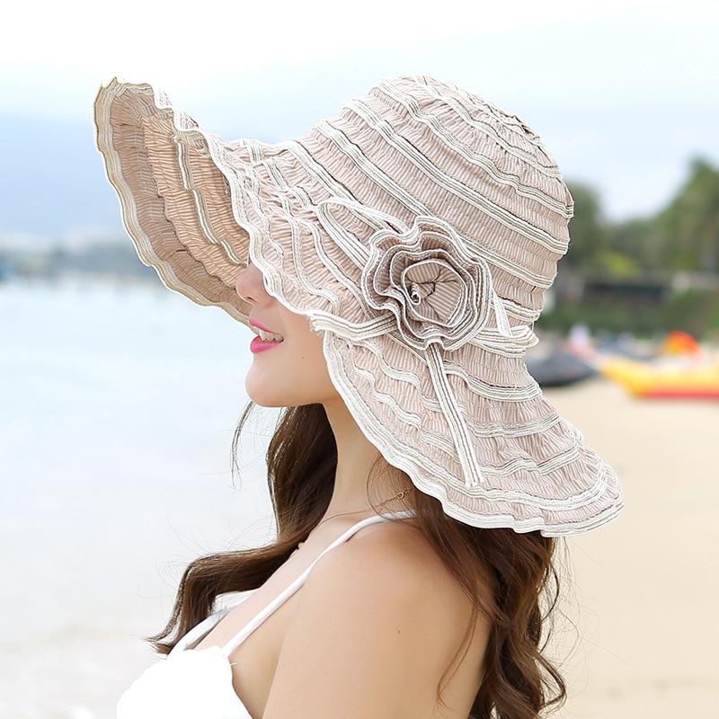 Chapeau à Large bord pour femmes | Chapeau de soleil de plage ajustable anti-uv avec fleurs de Style coréen, Packable, HT1676, 2018