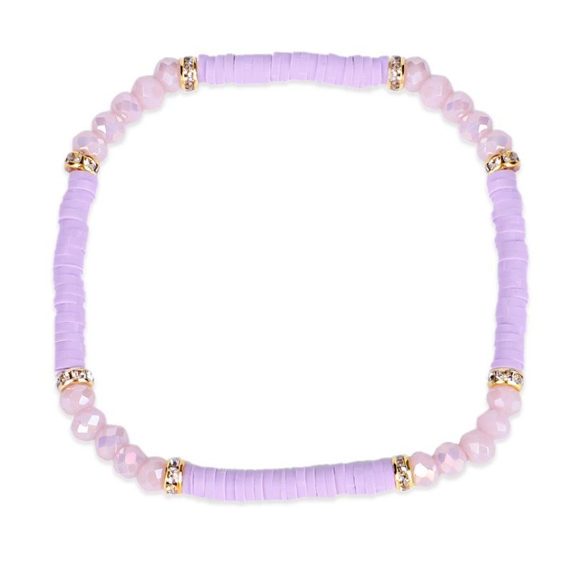 Bohême à la main en céramique colorée perles Bracelets créatif poterie visage perles cristal bracelets pour femme bijoux