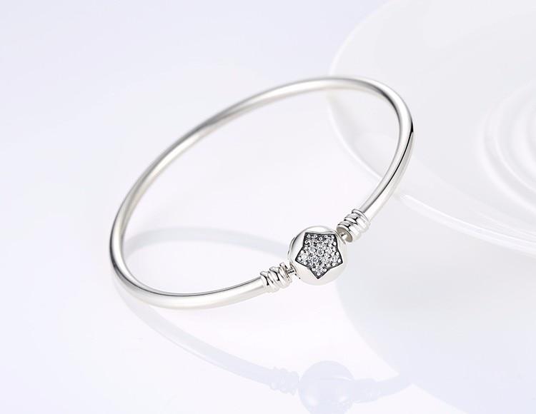Pulseira 925 Bracelet en argent Sterling Femme flocon de neige coeur oeil bleu Femme serpent chaîne Bracelets & Bracelets femmes bijoux