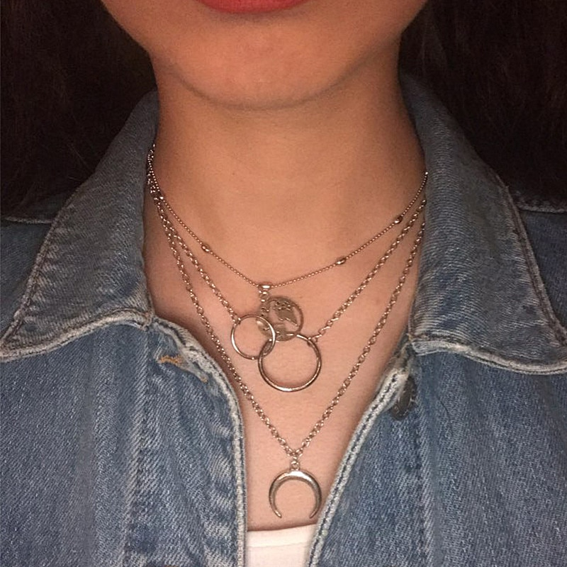 Bohème mode lune cercle carte pendentif Collier pour femmes Bijoux terre tour de cou multicouche Bijoux Collares Mujer Collier Femme