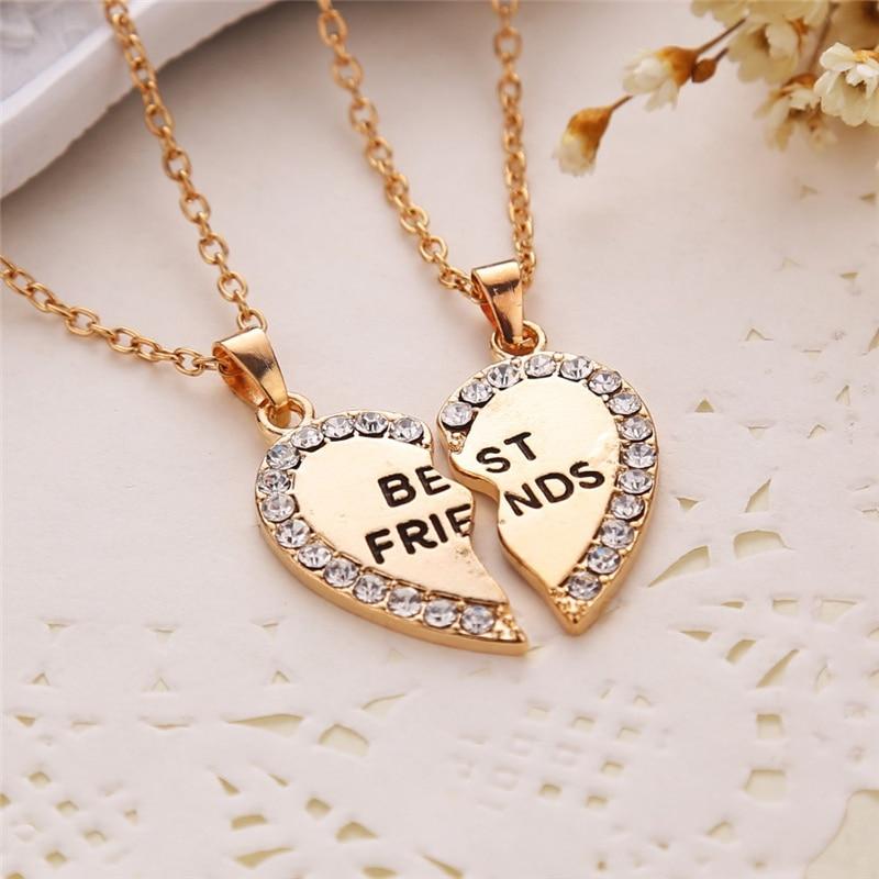 Unisexe 2 pièces BFF collier femmes cristal coeur pendentif meilleur ami lettre collier mode Couple collier hommes amitié bijoux