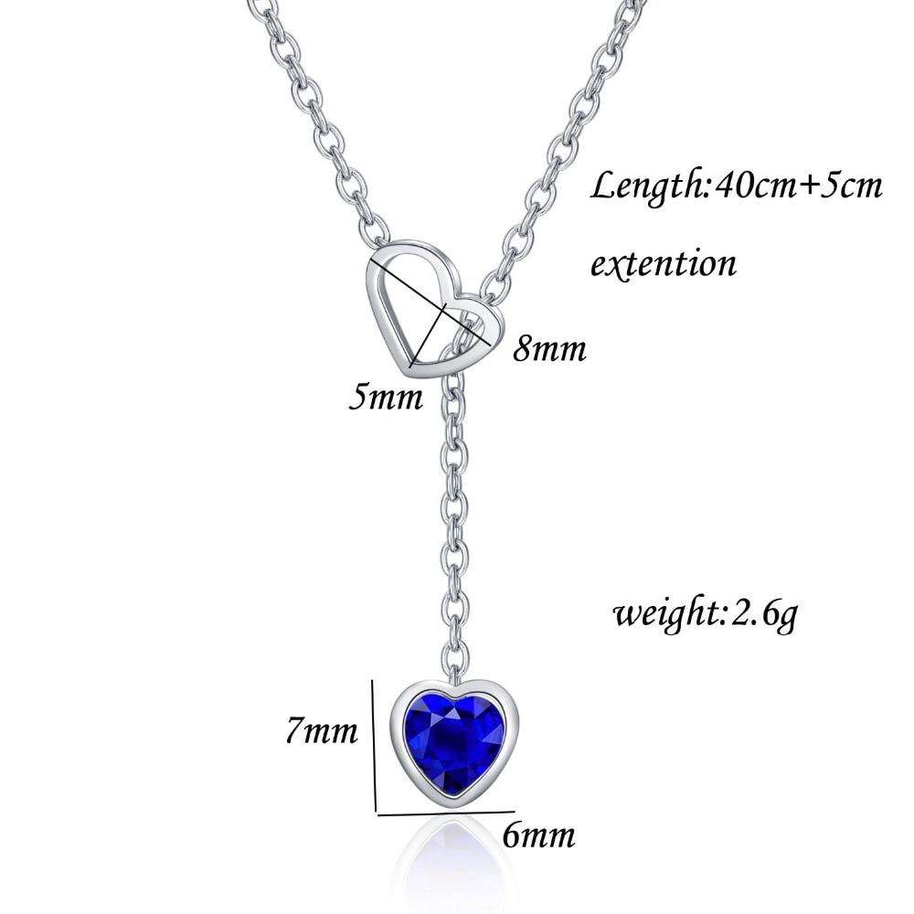 Mode Double coeur amour collier ras du cou colliers pour femmes en acier inoxydable bijoux coeur de l'océan bleu cristal collier collier cadeau