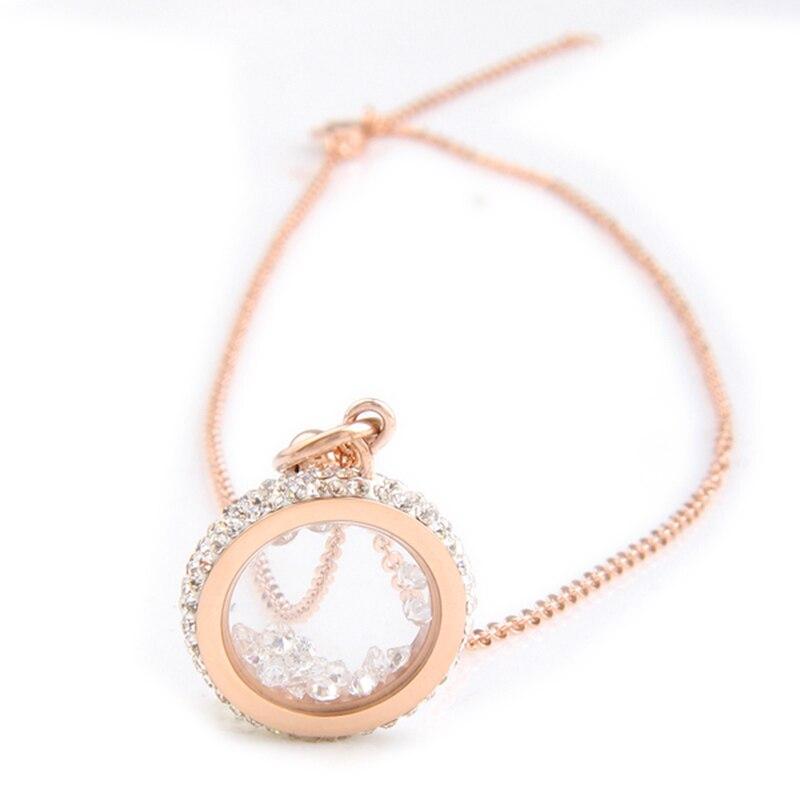 Couleur or Rose 316L en acier inoxydable CZ cristal pendentif rond collier en acier inoxydable bijoux de mode