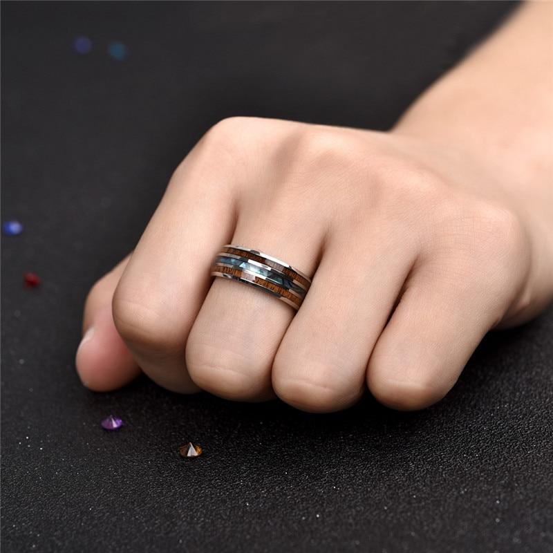Jiayiqi hommes anneaux en acier inoxydable Grain de bois mode femmes anneaux hommes bijoux cadeaux