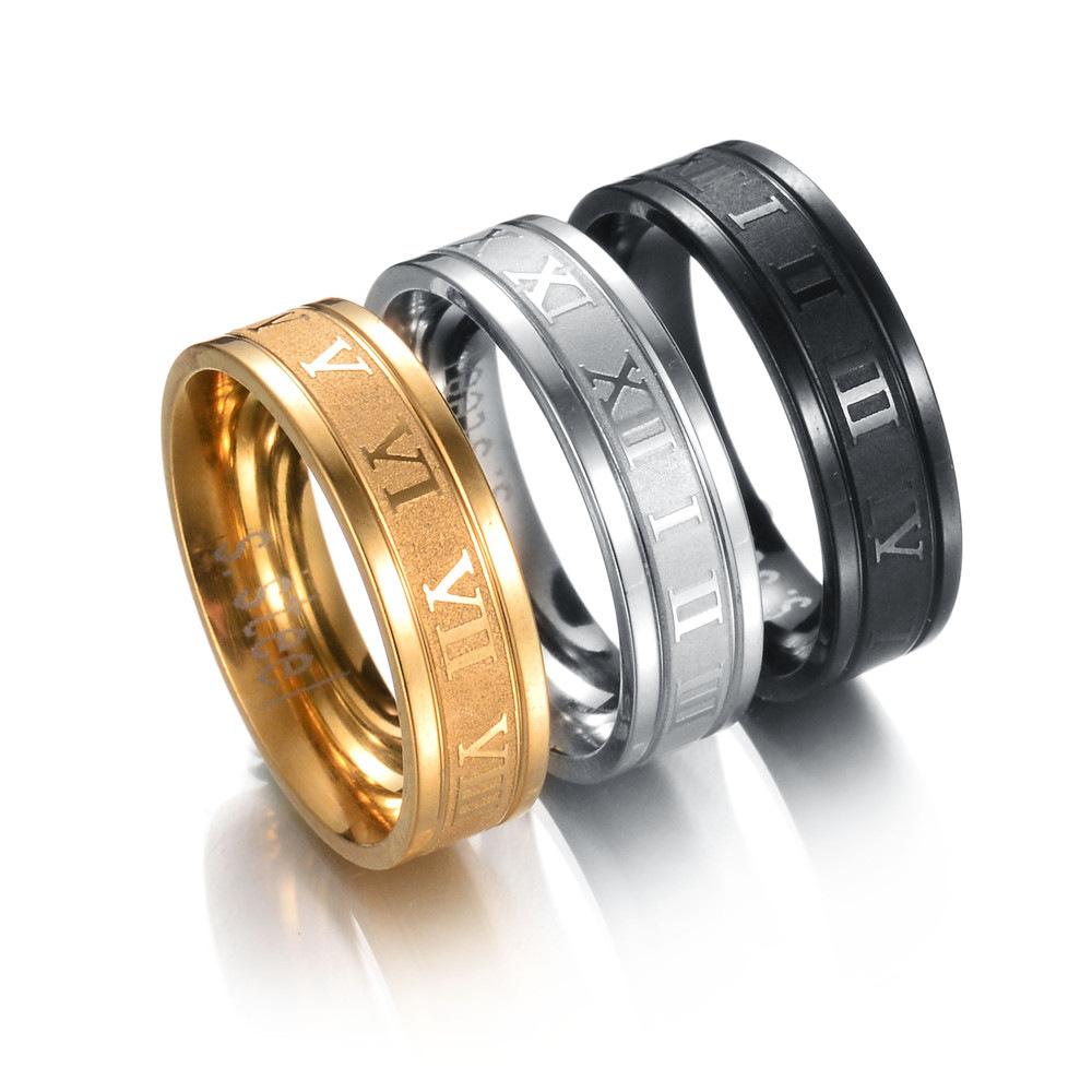 UAH 8 mm 316L acier inoxydable bague de mariage chiffres romains or noir Cool Punk anneaux pour hommes femmes bijoux de mode
