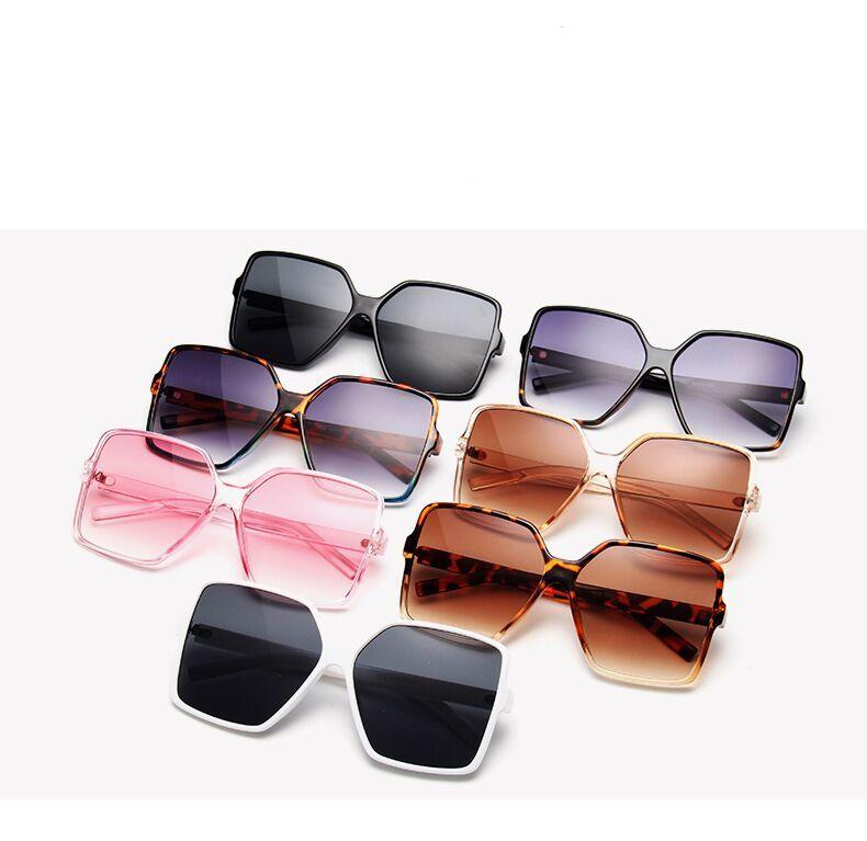 Lunettes de soleil noires carrées | Lunettes de soleil surdimensionnées femmes, grande monture colorée, miroir, Oculos unisexe dégradé Hip Hop