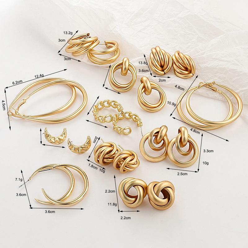 AENSOA 2020 nouveau or couleur boucles d'oreilles pour les femmes multiples à la mode ronde géométrique goutte déclaration boucles d'oreilles mode fête bijoux cadeau