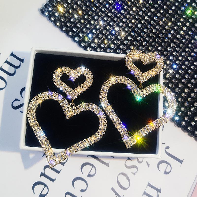 Mode exagérée dominée cristal double coeur boucles d'oreilles contractées joker longues femmes boucles d'oreilles bijoux