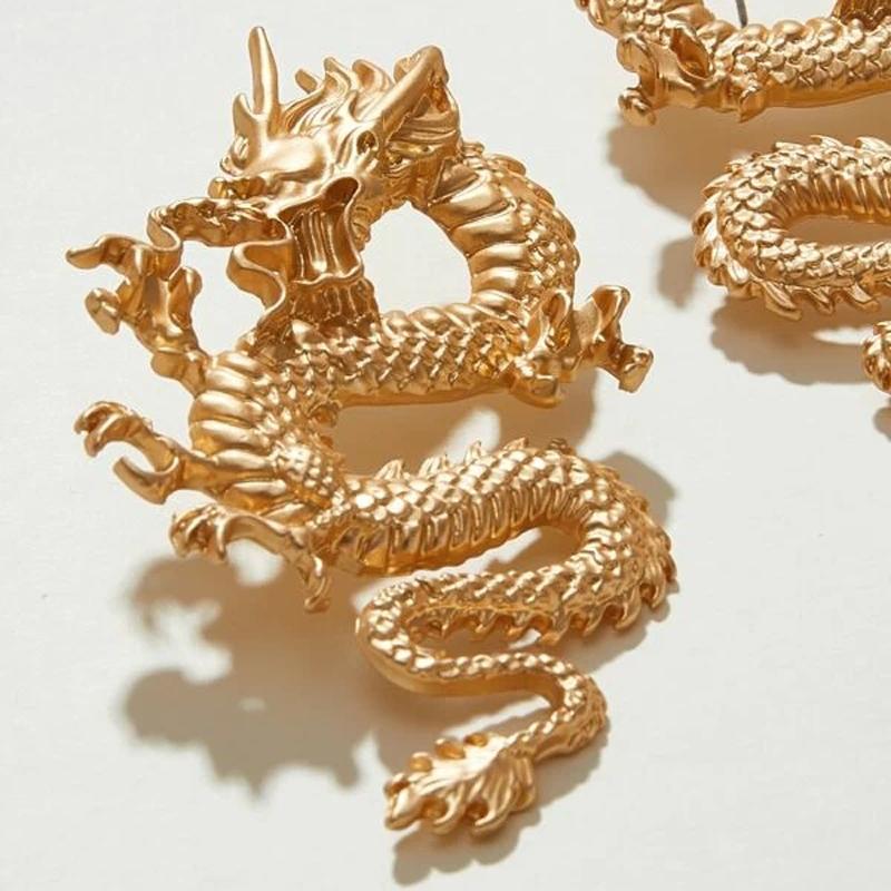 Punk ton or Firery Dragon boucles d'oreilles pour femmes 2020 Unique Chic métal Dragon déclaration boucles d'oreilles Bijoux Femme Bijoux