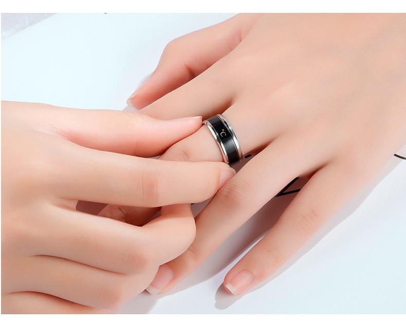 Anneau de température titane acier humeur émotion sentiment Intelligent température sensible anneaux pour femmes hommes étanche bijoux