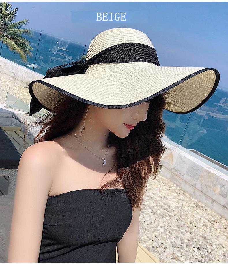 Chapeau de paille à Large bord | Chapeau d'été à Large bord, casquette de soleil à nœuds papillon, chapeaux pliables de plage, nouveaux chapeaux 2019 pour femmes