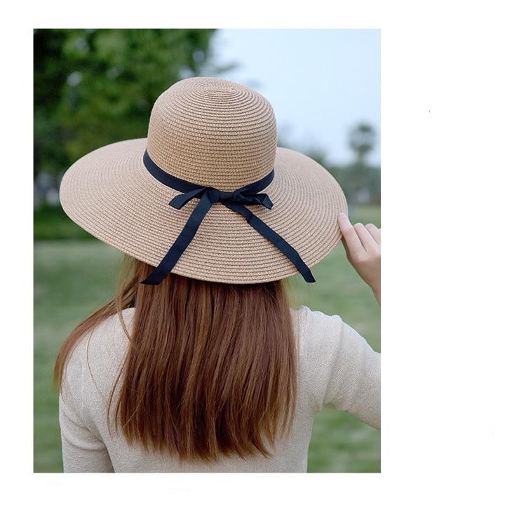 la Plage Chapeau de Plage Respirant /à Large Bord avec n/œud Floppy Chapeau de Protection UV pour Les Vacances ITODA Chapeau de Soleil /à Bord roul/é pour Femme UPF 50