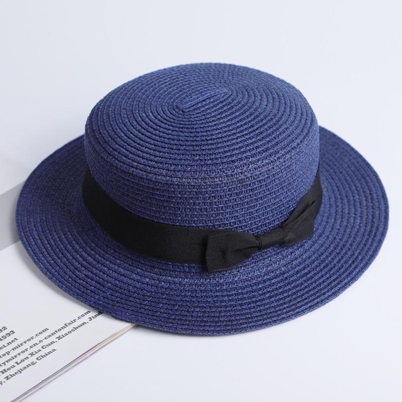 Chapeau de plage simple été 2019   Chapeau mère-enfant, chapeau décontracté Panama femme, chapeau de marque femmes à bord plat avec nœud papillon, casquette de paille pour filles