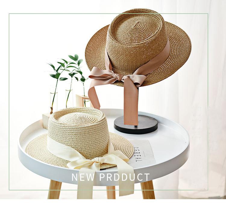 Ymsaid-chapeaux de soleil pour femmes | Mode fille, chapeau de paille avec nœud ruban, chapeau de plage décontracté paille, Top plat Panama