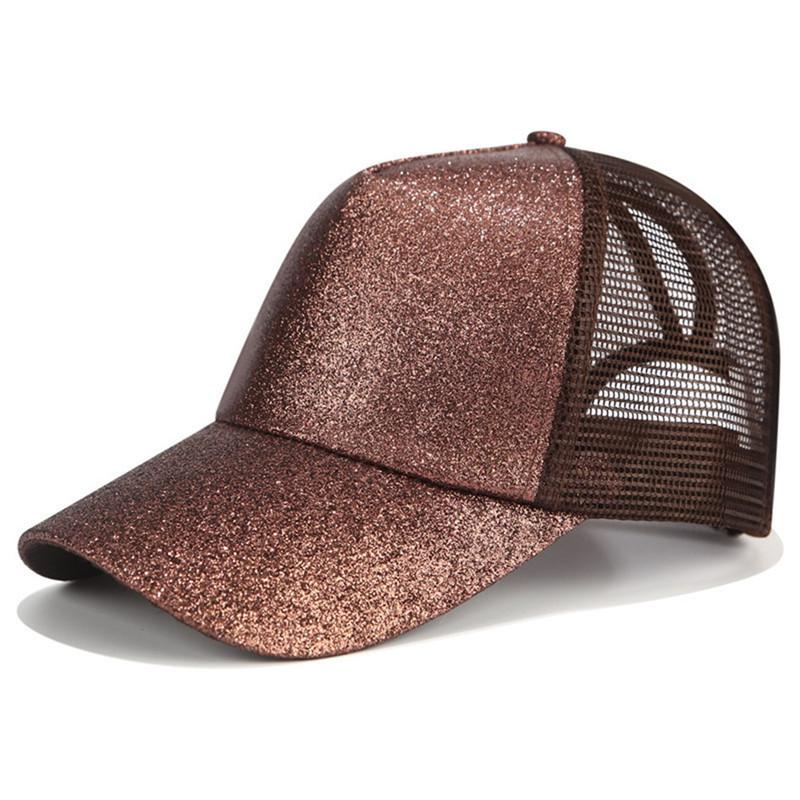 2020 paillettes queue de cheval casquette de Baseball femmes Snapback papa chapeau maille camionneur casquettes désordre chignon été chapeau femme réglable Hip Hop chapeaux