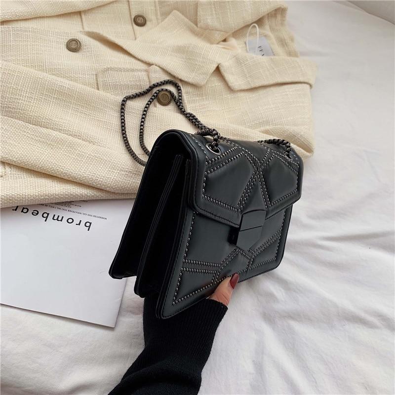 Rivet chaîne marque concepteur en cuir PU sacs à bandoulière pour les femmes 2020 Simple mode sac à bandoulière dame de luxe petits sacs à main