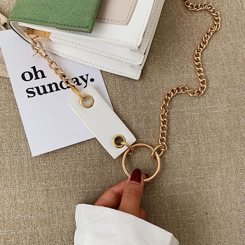 Gommage cuir contraste couleur Crossbody sacs pour femmes 2019 chaîne Messenger sac à bandoulière dames sacs à main et sacs à main bandoulière