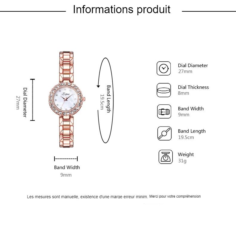 Lvpai marque Bracelet de luxe montres ensemble pour femmes mode géométrique Bracelet Quartz horloge dames montre-Bracelet Zegarek Damski