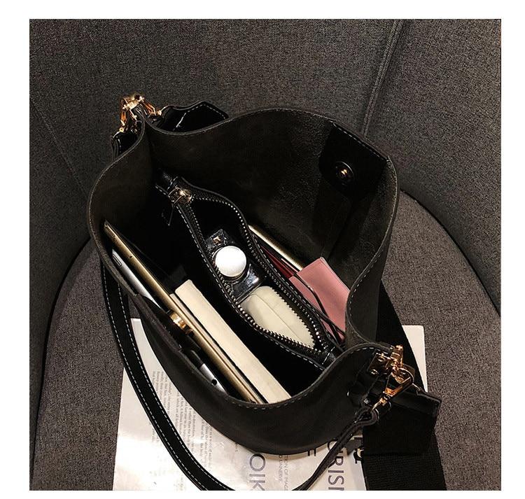 Sac de messager femmes seau sac à bandoulière grande capacité vintage mat en cuir PU dame sac à main de luxe concepteur bolsos mujer noir
