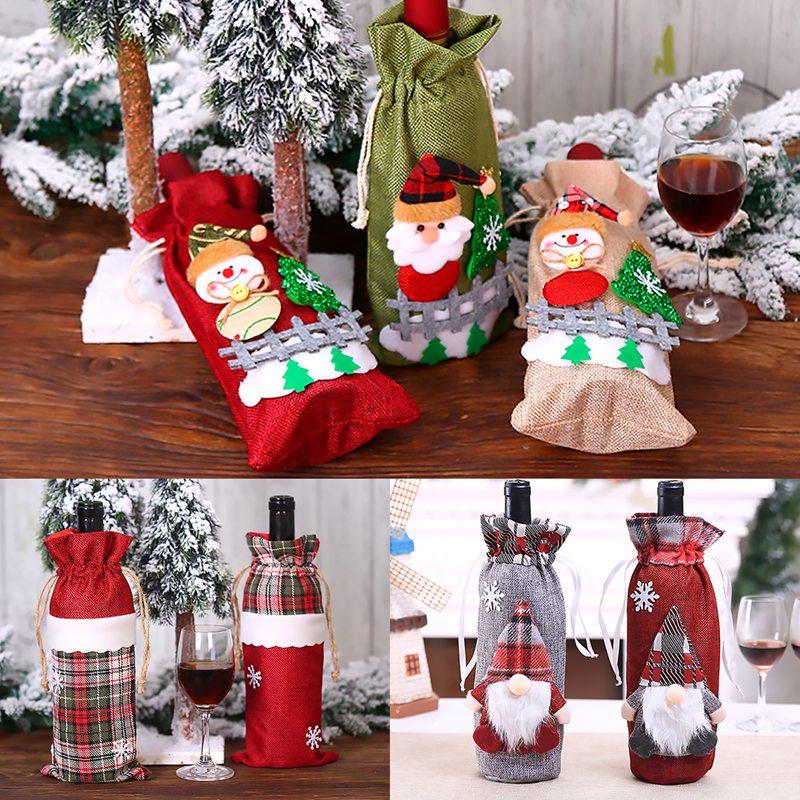Noël bouteille de vin couverture joyeux noël décor pour la maison 2020 Natal Noel noël Table décor noël cadeau bonne année 2021