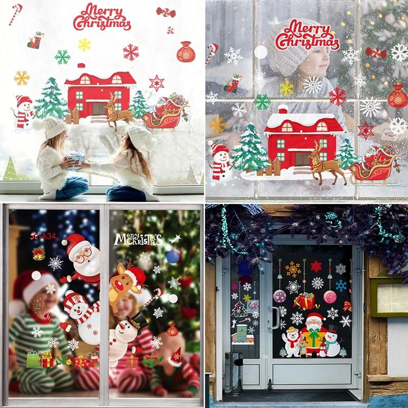 FRIGG noël Stickers muraux fenêtre verre autocollants 2020 décor de noël pour la maison joyeux noël ornement Noel Navidad Natal