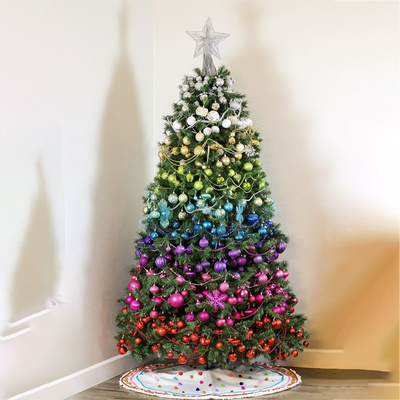 34 pièces ornement de noël pour noël décor à la maison boules en plastique léger natal déco une boule de baril 4cm 2021 pendentif suspendu nouvel an