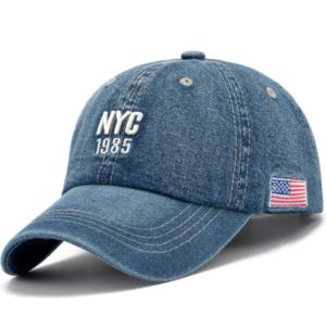 Casquette en jean brodé NYC